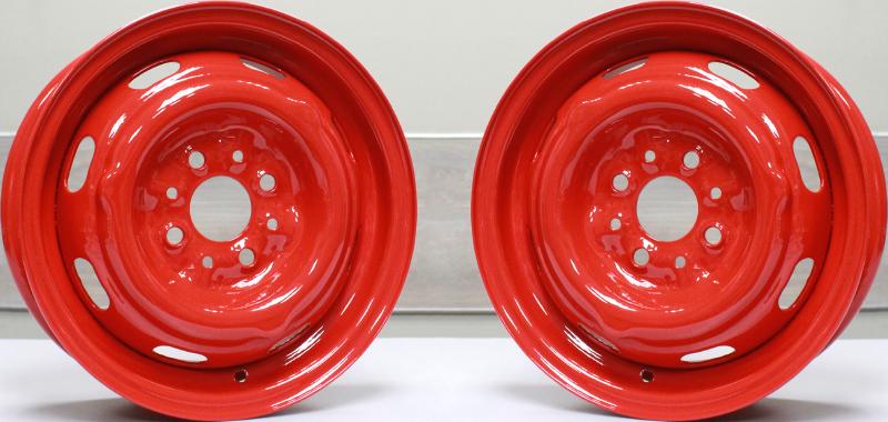 Стальной штампованный диск, покрашенный порошковой краской в цвет «Ral 3020» - Hofmann Сервис